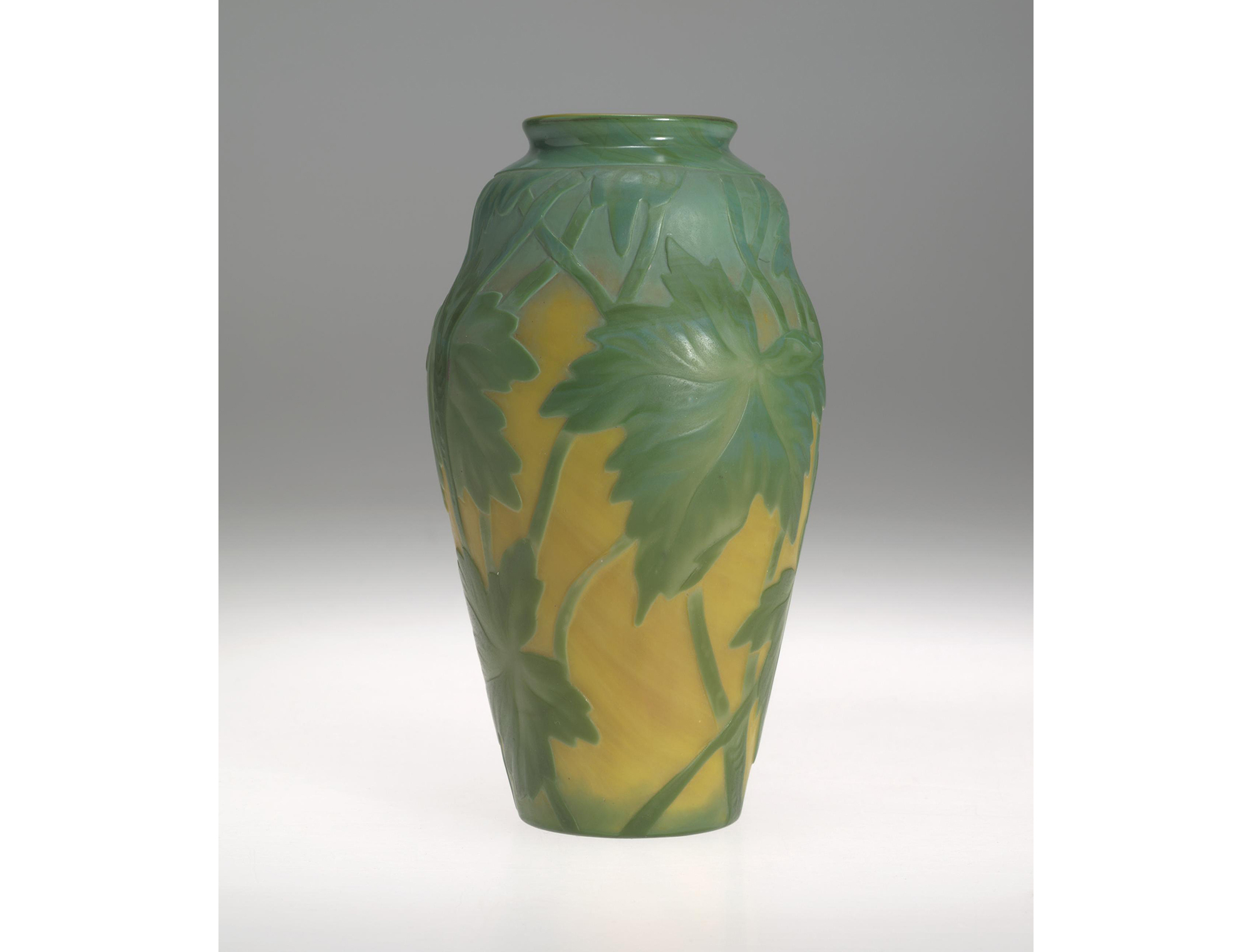 Vase, Green Overlay on Yellow Cameo. Herbert F. Johnson Museum of Art, Cornell University, 57.105.