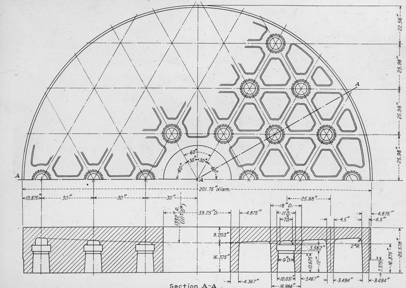 Plan View and Cross Section of Mirror