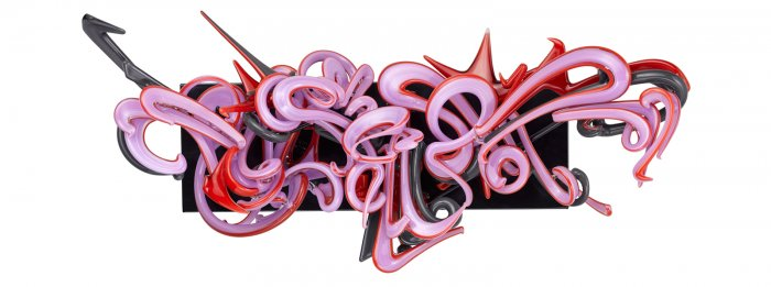 A glass cannabis pipe and sculpture with graffiti-like swirls in purple, red and black