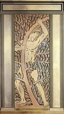 Panel, Athlète et feuillages (Athlete and foliage), for Wanamaker's Men's Store, dated 1932. Sandblasted glass panel, applied patina; bronze-coated metal frame. Framed H. 2.83 m, W. 1.64 m, D. 9.5 cm. (55.3.165, gift of Benjamin D. Bernstein)
