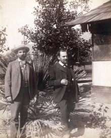 Figure 6. William F. Ganong (left) and Rudolf Blaschka, 1892 field season. Photo dated April 28, 1892. Rakow Research Library, The Corning Museum of Glass.