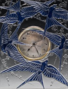 Detail of a clock, Cinq hirondelles (Five swallows), designed 1920. Mold-pressed glass, enameled; Swiss-made clock. H. 15 cm, W. 13.5 cm, D. 5 cm. (2011.3.202, gift of Elaine and Stanford Steppa)