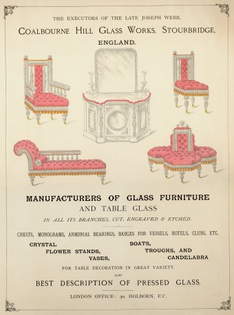 Fig. 1: Full-page advertisement for glass furniture. From Golden Guide to London, 1884. Juliette K. and Leonard S. Rakow Research Library of The Corning Museum of Glass, Corning, New York.