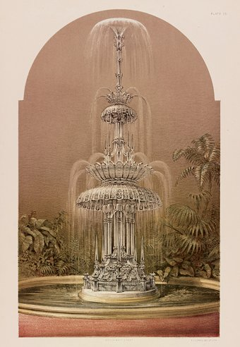 Fig. 1: Print showing Osler's Crystal Fountain in the center of the Crystal Palace, 1851. From M. Digby Wyatt, The Industrial Arts of the Nineteenth Century, London: Day and Son, 1851-1853, v. 1, pl. 23. Juliette K. and Leonard S. Rakow Research Library of The Corning Museum of Glass, Corning, New York.
