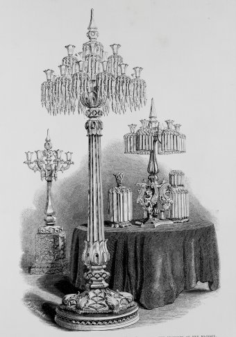 Fig. 2: Eight-foot candelabrum, one of a pair ordered from Osler by Prince Albert for Queen Victoria in 1848. From Official Descriptive and Illustrated Catalogue [chapter 1, note 19], fig. 416. Juliette K. and Leonard S. Rakow Research Library of The Corning Museum of Glass, Corning, New York.