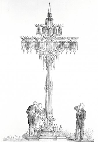 Fig. 3: Twenty-foot glass fixture exhibited by Osler at the 1862 world's fair in London. From The Illustrated Catalogue of the Industrial Department [chapter 4, note 3], v. 2, p. 85. Juliette K. and Leonard S. Rakow Research Library of The Corning Museum of Glass, Corning, New York.
