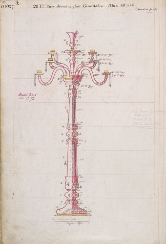 Fig. 6: Design for candelabrum, 1860s, from Osler pattern book, v. 1, p. 55. Birmingham Museum and Art Gallery, Birmingham.