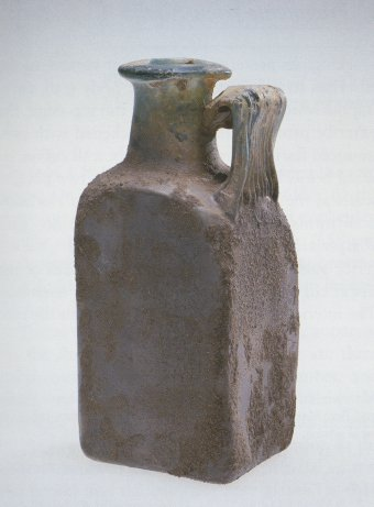 Fig. 1: Mold-blown square bottle from the collection of William F. Albus. H. 18.9 cm.