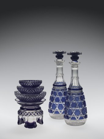 Fig. 30: Two Sakazuki decanters with stoppers and five-piece Sakazuki cup set